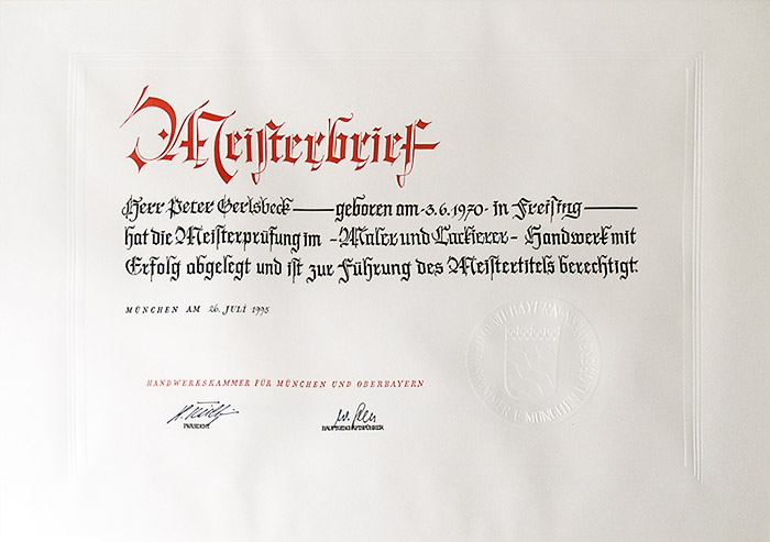 Meisterbrief Peter Gerlsbeck